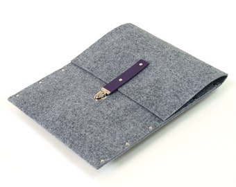 13 inch MacBook Pro sleeve case cover grey synthetic felt with leather strap handmade by SleeWay