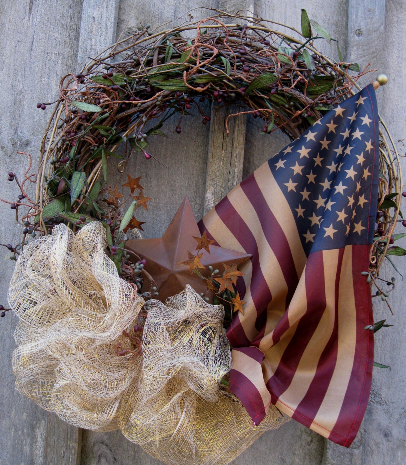 Americana wreath patriotic wreath rustic door decor for Americana decoration