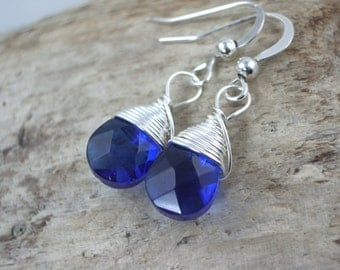 cute dainty dark sapphire blue quartz gemstone and gold gemstone drop dangle earrings bridesmaid