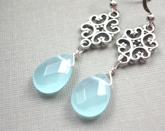blue long earrings antique silver connector faceted teardrop delicate chalcedony blue jewelry