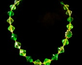 West Germany Green Faceted Lucite Necklace