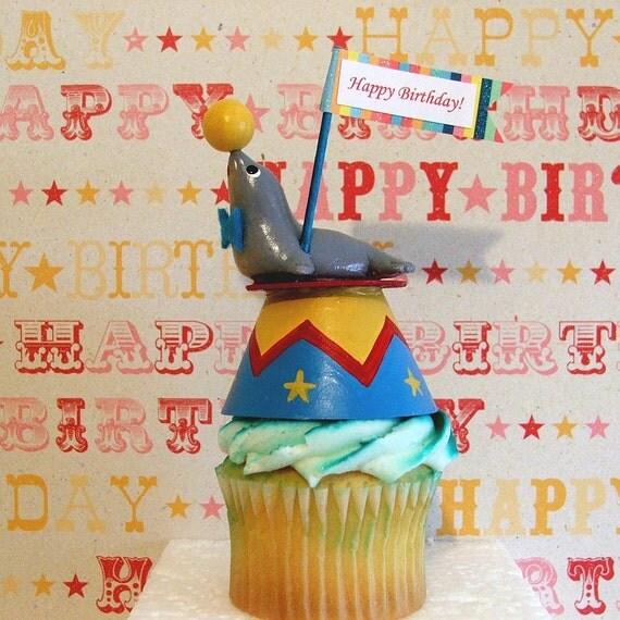 Single Performing Circus Seal Cupcake Topper/Decoration/Circus Theme