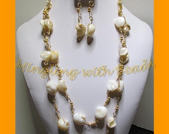Double strand Pearl Necklace set