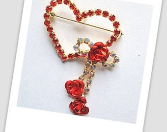 Red Crystal Heart Pin-Pendant