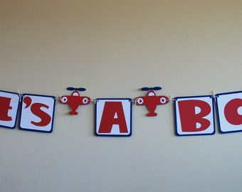 Airplane Party Banner in Red Blue and White Your Choice of Wording