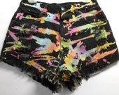 Vintage High Waisted TIE  Dyed   Denim Shorts -  ---Waist 30  inches