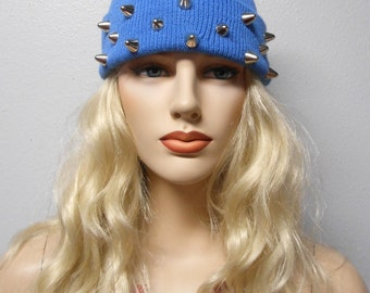 Soft  Slate Blue   Beanie with Silver Cone Studs