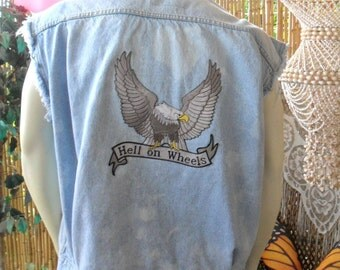 Vintage Levis Distressed  -Studded Denim Vest - Biker Vest --Hell on Wheels ---Size X- Large Mens