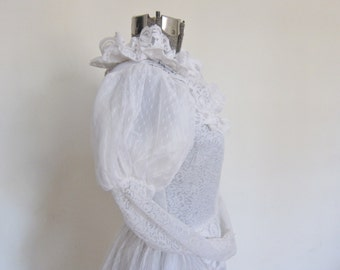 Vintage wedding dress, 1970s EDWARDIAN style WEDDING gown,  Medium size , unfinished dress, alternative wedding, steampunk