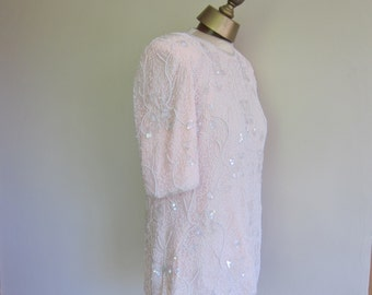 PINK beaded blouse Frank Usher  80s top evening tunic cruise wear L