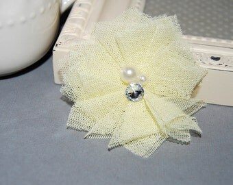 """4 pcs - Small Light Yellow Tulle Mesh Fabric Flowers - Cluster Pearl Rhinestone center - Gracie - 2 1/4""""  Fabric flower - flat back"""