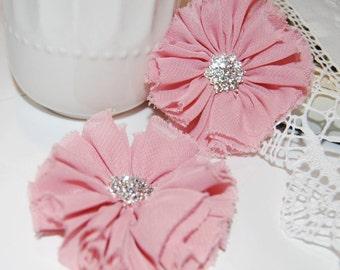 "Set of Two Dusty Rose Pink Chiffon flowers 2.5"" Shabby Frayed Fabric flowers ballerina flowers rhinestone flowers Candace wholesale flowers"
