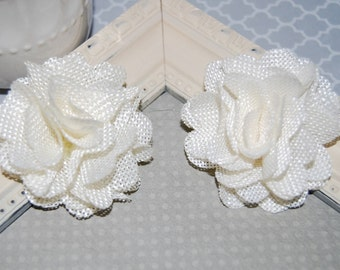 Flax Fabric Flowers - Ivory Cream  linen Burlap fabric flowers (2 pcs) - use for headbands - hair hat shoe clips  rustic vintage decorations