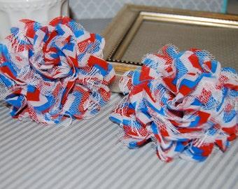 "Chiffon Lace Flowers - 2 pcs Red White Blue Chevron - 3.75""  fabric flowers Shabby Chic Frayed Satin mesh Lace  hair brooch headband"