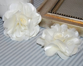 Ivory Cream - Small 2.5'' Satin mesh silk fabric flowers (2 pcs)  - use for hair flower shoe clip flower headband flowers  bridal wedding