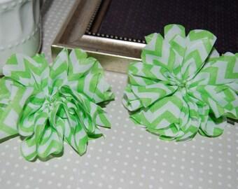 "CLEARANCE: 2 pcs - Green Chevron Printed Fabric Flowers -  Shabby Chiffon Fabric hair Flowers heads for headbands Vintage print - 3 1/2"""