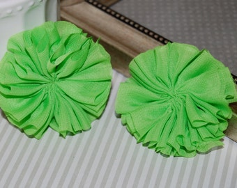 "Set of 2 Chiffon ballerina Double Ruffle Unfinished Flowers - 2.5"" Lime Green chiffon twirl pleated tutu fabric flowers shoe hair headband"