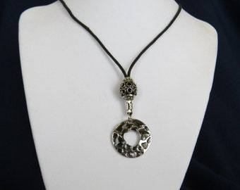 Fashion Jewelry - Black and Silver colored circular Charm  Adjustable  Necklace with Silver colored bead.