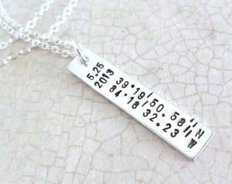 Latitude Longitude Necklace - Sterling Silver Bar Necklace - Custom Coordinates - Date and Location - Vertical Bar Necklace