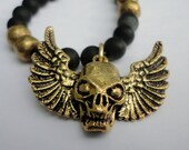 Skull Necklace - Black Onyx with Brass Skull Bead Accents and Charm