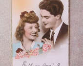 Is it True Vintage French postcard Couple Pink deckled