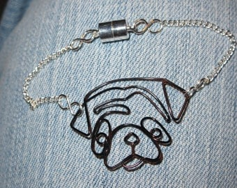 Wire Wrapped Pug Chain Bracelet MADE to ORDER