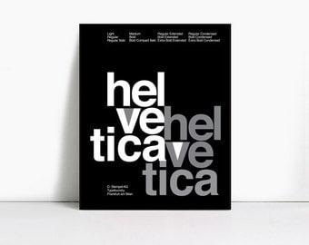 20x30 Inch Gicleè Suisse Swiss Helvetica Type Specimen Poster. Color: Black