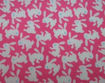 Small white rabbits, bright pink, fat quarter, pure cotton fabric
