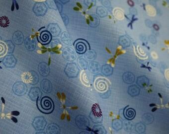 Dragonfly, blue, fat quarter, pure cotton fabric
