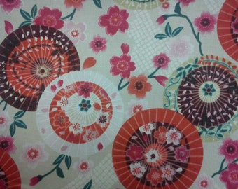 Japanese umbrellas and cherry blossom, 1/2 yard, pure cotton fabric