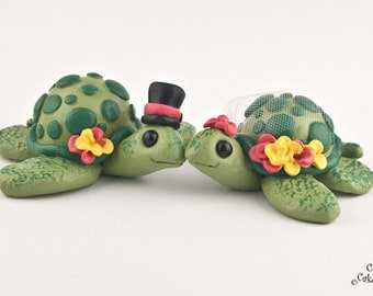 Love Turtles Wedding Cake Topper