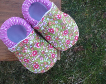Baby Shoes for Girls -  Green With Multi-Colored Flowers and Pink Running-Stitch Prints - Custom Sizes 0-24 months 2T-4T