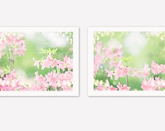 Floral Photography Set - 2 two photographs pink green white spring flowers prints pastel light pale nature prints nursery wall art 10x10