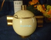 Carlton Ware Art Deco Moderne Shape Style Yellow & Gold Preserve Jam Pot