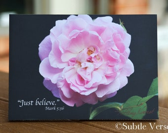 5x7 Just Believe Plaque - Inspirational, Photography, Flowers, Mother's Day Gift