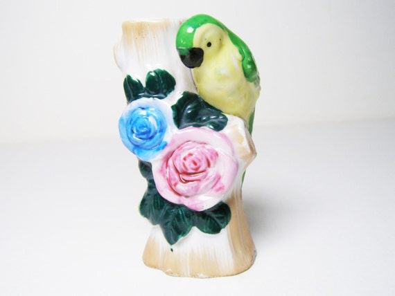 Vintage Bird Vase Ceramic Majolica Style, Made in Japan