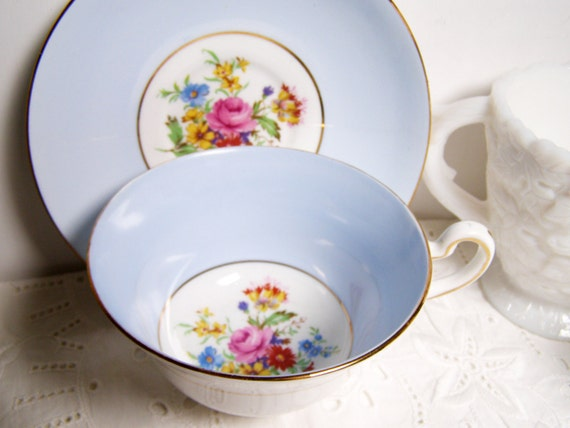 Powder Blue Vintage Teacup and Saucer with Flowers, Rosina Bone China, England