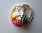 Silver, Coral & Yellow Monkey's Fist Knot - Small