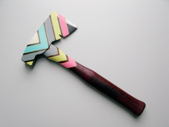 Multi-Colored Triangle Patterned Painted Hatchet