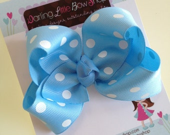 Blue polka dot Bow -- pastel light blue large boutique bow -- perfect for Spring and Easter