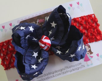 Navy Ruffle Bow and headband -- Navy ruffle with stars bow and red headband -- July 4th and Summer -- red, white and blue