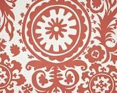 Medium Drum Lamp Shade in Coral Suzani Fabric