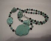 Handmade Turquoise Beads and Magnesite Slab Necklace