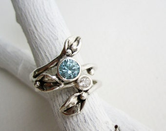 Set of 2 Rings, Silver Leaf Ring with 5mm Blue Zircon and 3mm White Topaz, Engagement Rings