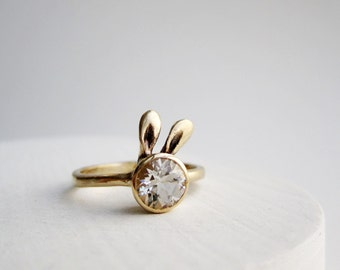 Golden Bunny Ring, 14K Yellow Gold and White Topaz, Bunny Fine Jewelry