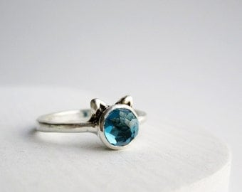 Blue Cat Ring, London Blue Topaz Sterling Silver Ring, Cat Fine Jewelry,MADE TO ORDER