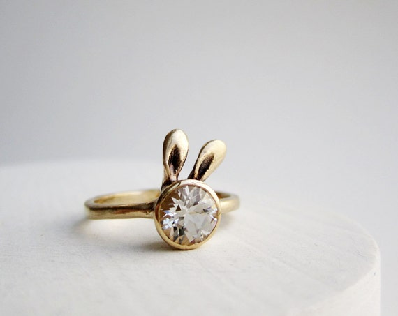 Golden Bunny Ring, 14K Yellow Gold and White Topaz