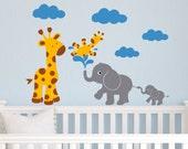 Children Wall Decal Giraffes and Elephant Friends