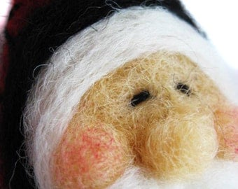 Christmas ornament -Santa Ornament - Needle Felted Santa - Santa Claus