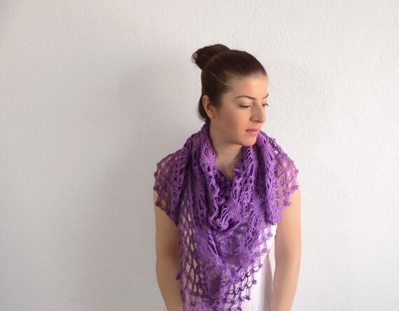 Purple Crochet Shawl - Purple Crochet Triangle Wrap - Purple Bridal Wrap, ready to ship